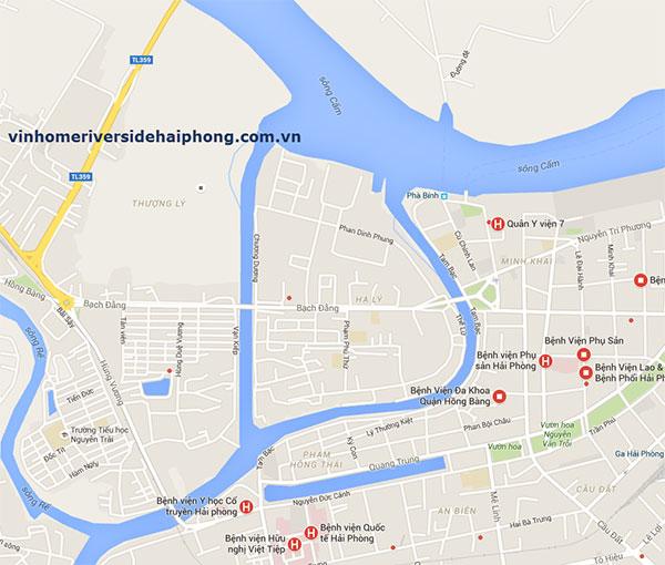 vị trí dự án Vinhomes Riverside Hải Phòng